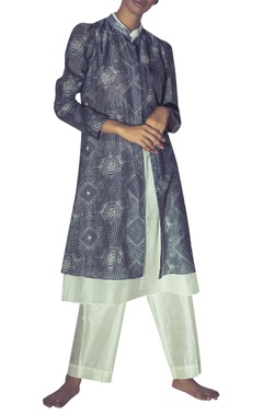 Myoho Chanderi printed jacket with attached inner