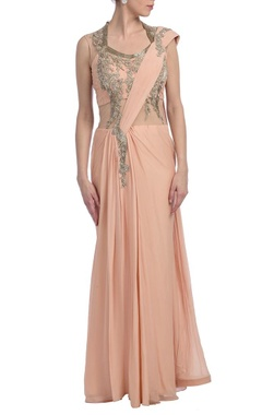 Peachy pink & silver embellished sari gown