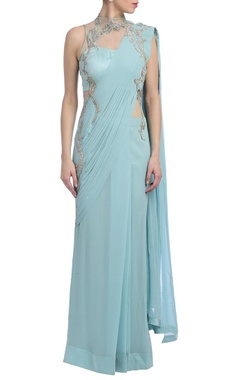 ice blue & silver embellished sari gown