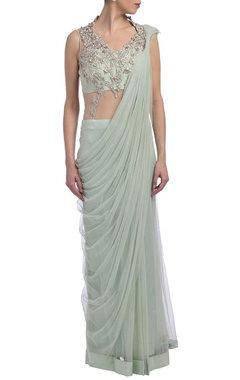 pale blue & silver embroidered sari gown