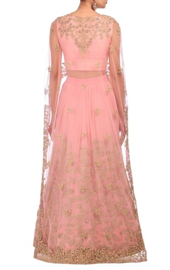 Baby pink embroidered cape lehenga set