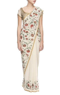 White chiffon floral thread work &sequin sari with blouse