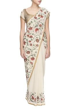 White chiffon floral threadwork and sequin sari