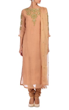 Nidhi Tholia pale peach & gold embroidered kurta set