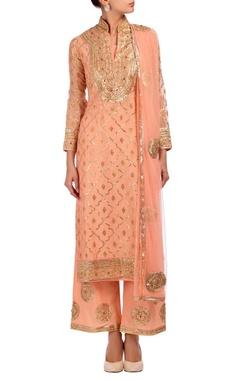 Rose pink, gold & silver embroidered kurta set