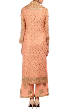 Rose pink, gold & silver embroidered kurta set