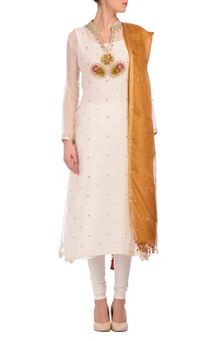 Nidhi Tholia white & deep gold embroidered kurta set