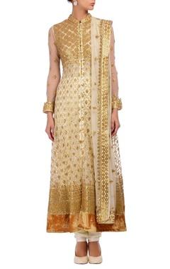 White & gold gota floral embroidered kurta set