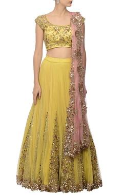 Canary yellow & rose pink embellished lehenga set