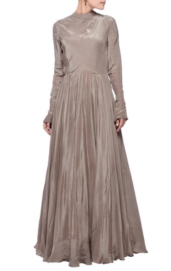 Metal grey turtle neck gown