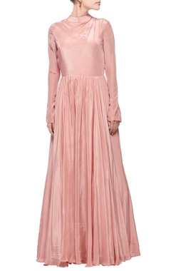 Rose pink turtle neck gown