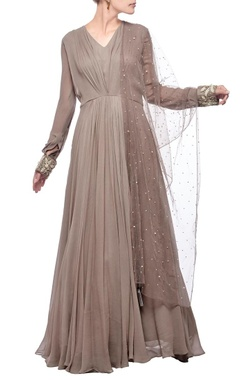 Grey pleated & embroidered anarkali set