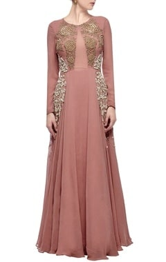 Blush pink & gold rose embroidered gown