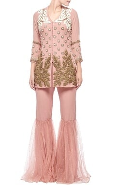Soft rose embroidered jacket with sharara