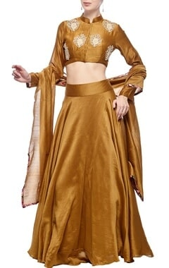 Mustard rose embroidered lehenga set