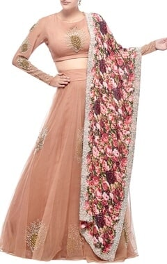 Nude rose embroidered & printed lehenga set