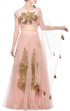blush pink rose embroidered lehenga set