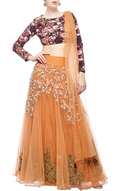 orange & pink rose printed & embroidered lehenga set