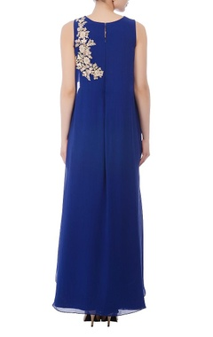 Royal blue & gold floral embroidered dress