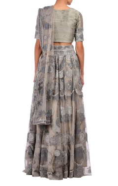 Grey mirror embroidered tie & dye lehenga set