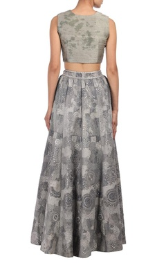 Grey moon mirror embroidered lehenga set