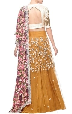 mustard rose embroidered & floral printed lehenga set