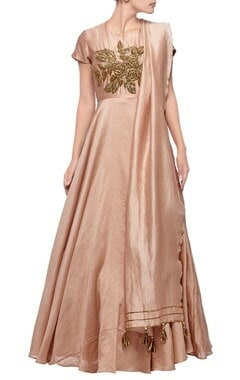 Blush pink rose embroidered anarkali set