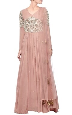 blush pink & pearl embroidered anarkali set