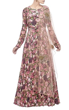 Bhumika Sharma Deep & light pink rose printed anarkali set