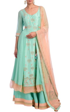 Ice blue & peach floral embroidered anarkali set