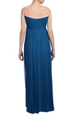 Teal blue & peach embellished kurta set