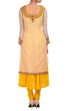 white & yellow layered embroidered kurta set