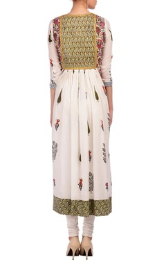 white & green floral & foliage printed tunic with churidar