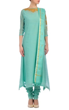 Nidhi Tholia aqua & gold embroidered kurta set