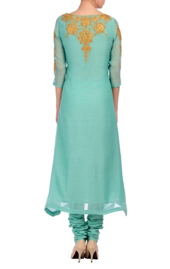 aqua & gold embroidered kurta set