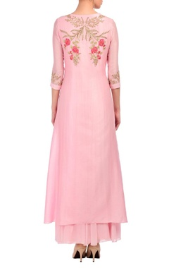 Flamingo pink floral embroidered kurta set