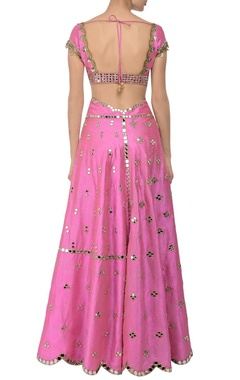 Carnation pink mirror embroidered lehenga set