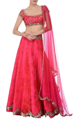 Red & fuschia tie dye mirror embroidered lehenga set