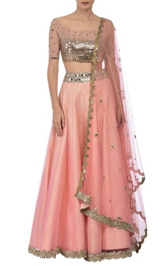 Peach & silver mirror embroidered lehenga set