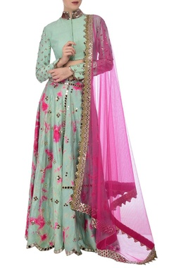 aqua & fuschia tie dye mirror embroidered lehenga set
