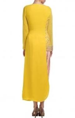 Canary yellow & peach embellished kurta set