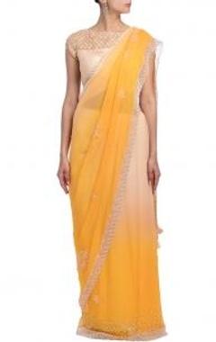 Apricot & peach pearl embellished sari