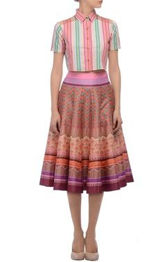 pink striped crop shirt