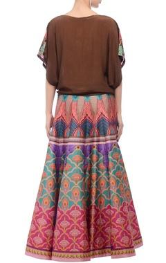 brown printed kaftan top