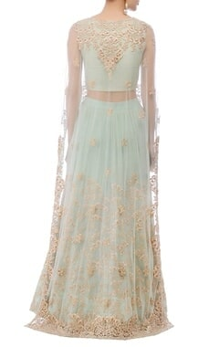 mint green flower embroidered lehenga