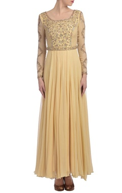 Pale yellow embroidered anarkali set