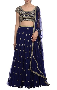 Royal blue floral embroidered lehenga set
