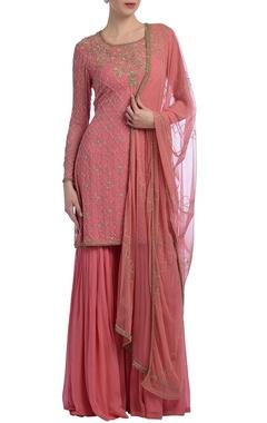 Sorbet pink floral embellished sharara set