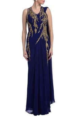 Royal blue & gold embellished sari gown
