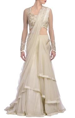 Ivory embroidered lehenga sari
